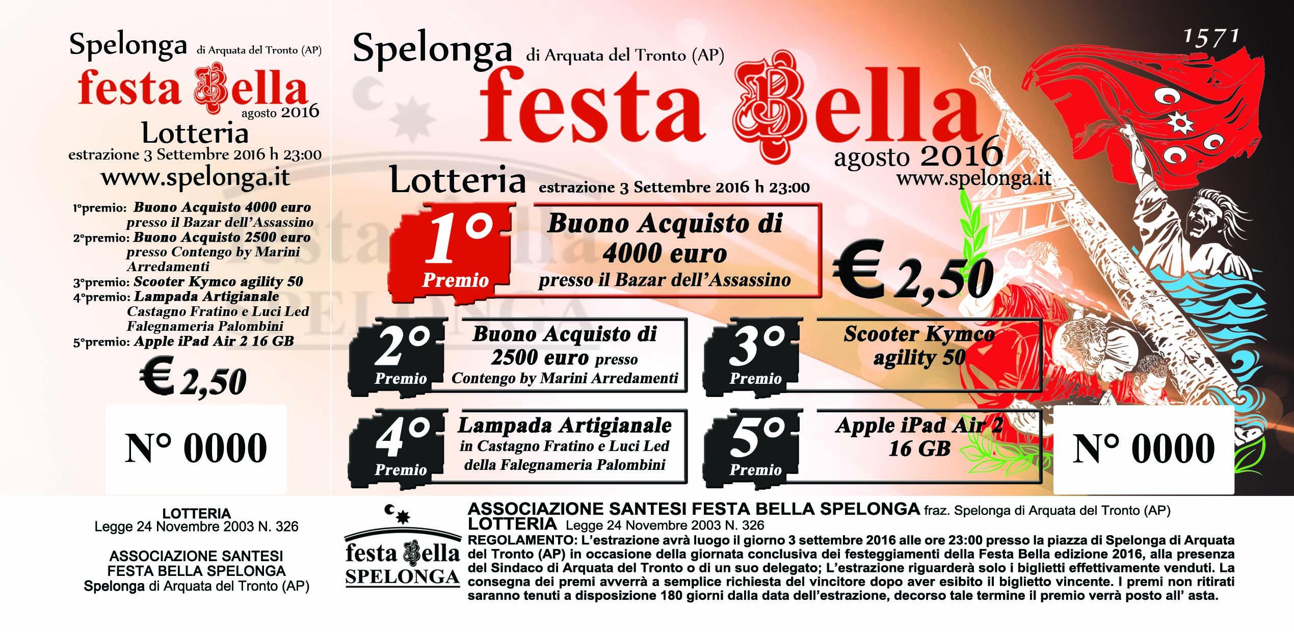 Biglietto Lotteria Festa Bella 2016 FRONTE